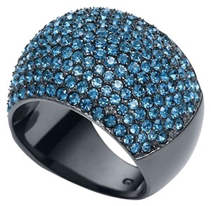 Michael Kors NWT Michael Kors MK Gunmetal & Blue Pave Stone Crystal Dome Ring Size 7 LAST ONE!