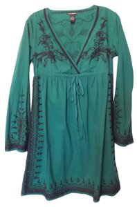 Lucky Brand short dress Green & black Embroidered Long Tunic on Tradesy
