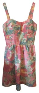 As U Wish short dress Pink/Green Floral Pink Green on Tradesy