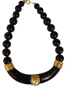 Vintage Vintage Black Beaded Diamond Gold Necklace