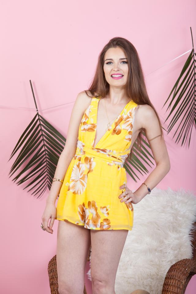 e29f08f134a7 Luxxel Yellow Floral Chiffon Multi-way Infinity Romper Jumpsuit ...