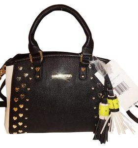 Betsey Johnson Small Cross Body Satchel in black/bone