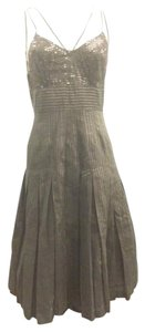 Tracy Reese Sequin Metallic Pleats Sheer Dress
