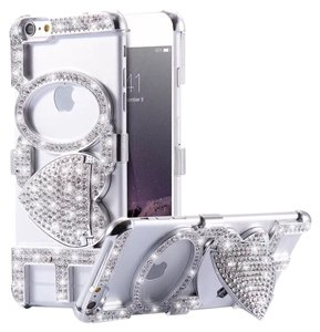 New iPhone 6 Plus Silver Bling Love Cell Phone Phone Case