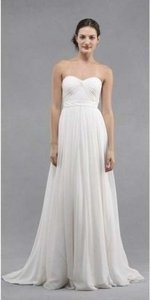 Jenny Yoo White Chiffon Monarch Modern Wedding Dress Size 6 (S)