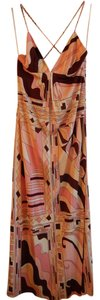 Multi (pinks, white, tan, eggplant) Maxi Dress by Julie Brown Maxi 100% Silk Medium