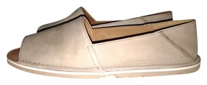 Coach Open Toe Soft Leather Beige Flats