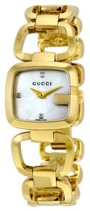Gucci Diamond and Mother of Pearl Gold tone Stainless Steel Bangle Designer Dress Watch