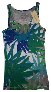 Sonoma Hawaii Palm Trees Stretch Everyday Summer Top White, Green, Blue, Teal