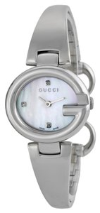 Gucci Diamond and Mother of Pearl Dial Silver tone Bangle Bracelet Designer Ladies watch