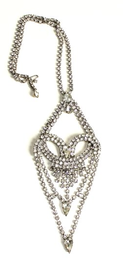 Other Vintage Rhinestone Heart Shaped Long Necklace