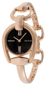 Gucci Black Dial Rose Gold Stainless Steel Bangle Designer Ladies Dress Watch
