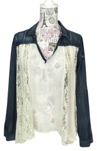 Free People Shirt Lace Sheer Flowy Top denim and cream