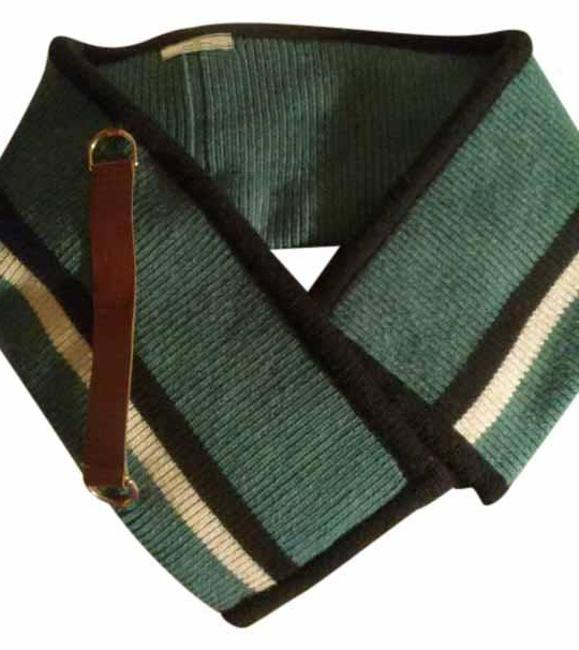 Item - Green and Black with White Paris Knitted Thick Wool Leather Strap Scarf/Wrap