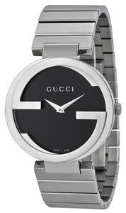 Gucci Black Dial Logo Bezel Silver tone Stainless Steel Designer Dress Watch