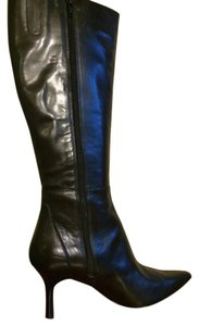 Charles David Knee High Leather Black Boots