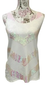 Julie Brown Top cream with iridescent sequins