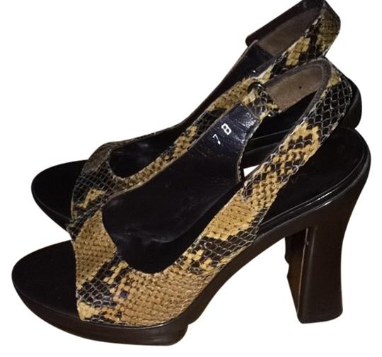 Via Spiga Chunky Slingback Brown Snakeskin Pumps