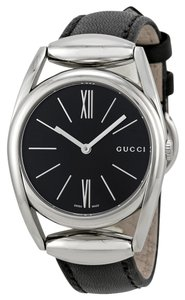 Gucci Black Dial Silver tone Stainless Steel with Black Leather Strap Designer Ladies Dress Watch