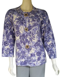 Coldwater Creek Cotton Knit Floral Cardigan