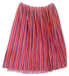 O'Neill Summer Tea Length Casual Skirt Orange, Blue, White Stripes