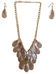 Gold CELAR Bead Neutral Statment Necklace & Earring Set