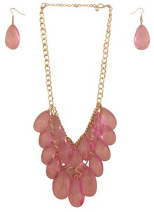 Pink & Gold Statement Necklace & Earrings