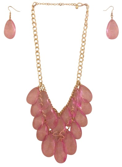 Other Pink & Gold Statement Necklace & Earrings