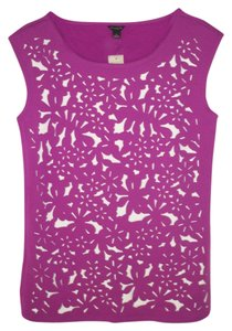 Ann Taylor Knit Laser Cut Cut Out Tank Sleeveless T Shirt Pink