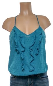 6 Degrees Ruffle Sleeveless Top cyan