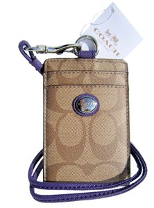 Coach COACH Peyton Signature C Lanyard Badge ID Card Holder 68661 Khaki, Violet (Purple) NWT $48