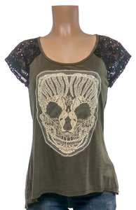 Grass Collection Skull Sheer Embellished T Shirt olive green black cream