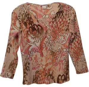 Alberto Makali Crinkle Sequin Silky New Lightweight Top Off-White, Peach, Peachy-Pink,Tan, Brown