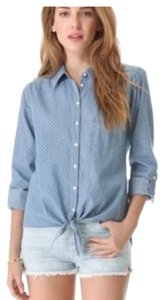 C&C California Button Down Shirt Chambray and white polka dots