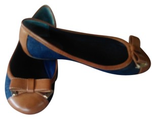 Guess Blue Jean & Leather Goldtone Logo Flats
