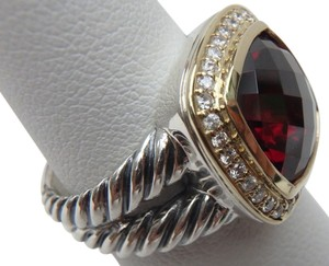 David Yurman NEW David Yurman 11mm x 11mm Albion Ring with Garnet and Diamonds with 18K Gold size 7