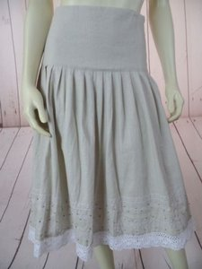Ninety Linen Rayon Blend Flat Waist Lace Hem Embroidery Boho Skirt Light Gray
