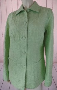 Coldwater Creek Coldwater Creek Blazer Coat Pm Lt Green Lightweight Quilted Silk Unlined Classy