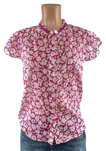 Velvet by Graham & Spencer Button Down Shirt magenta floral white