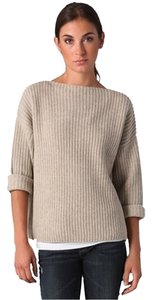 Vince Vince. Taupe Chunky Chunky Knit Knit Warm Cozy Designer Cable Knit Ribbed Wool Sweater