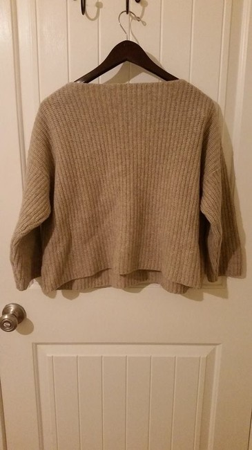 Vince Taupe Chunky Chunky Knit Knit Warm Cozy Designer Cable Knit Ribbed Wool Sweater