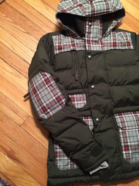 Burton Plaid Army Green Puffy Quilted Jacket Fall Jacket Coat
