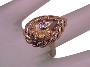 Art Deco 14k Yellow Gold Filigree Genuine Citrine Diamond Ring,1930s