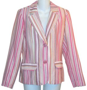 Dialogue Striped Pink Blazer