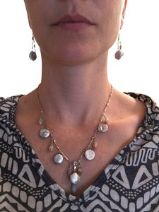 Flat White Pearl Necklace and Earring Set