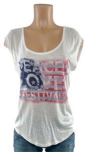 Red Camel American Flag Love Peace T Shirt white blue red