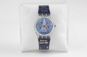 Swatch Swatch 6-8 Blue Red White Clear Swiss Made Eiffel Tower Watch Bj16