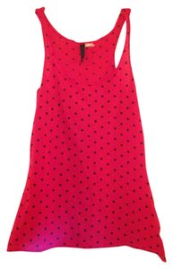Divided by H&M Top Red with Black Polkadots