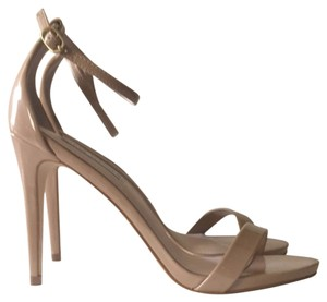 Steve Madden Stecy Stacy Sexy Patent Nude Sandals