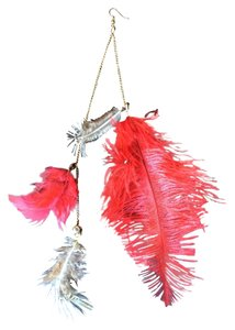 ONE long festival feather earring